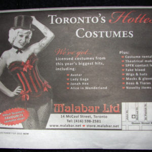 Malabar Costumes Advertisement in NOW Magazine Week of Oct 7th - Model: Rashelle