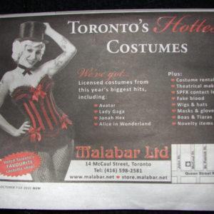 Malabar Costumes Advertisement in NOW Magazine Week of Oct 7th - Model: Rashelle