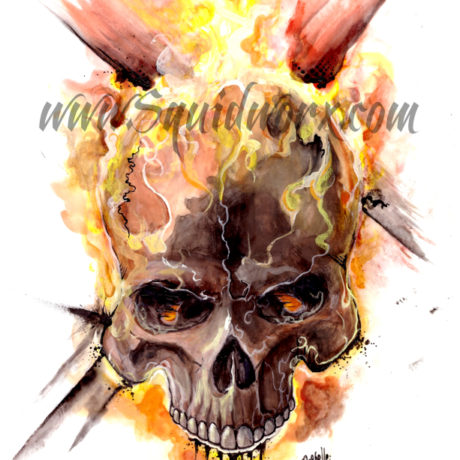 Ghost Rider Tattoo Design / Watercolour & India Ink